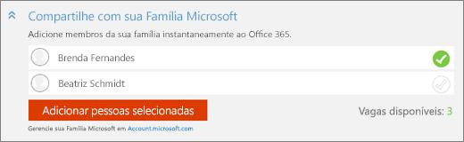 Captura de tela da seção Compartilhar com sua família Microsoft da caixa de diálogo Adicionar alguém, com o botão Adicionar pessoas selecionadas.