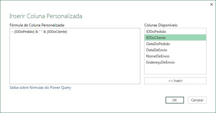 Especifique a fórmula de coluna personalizada para mesclar os valores da coluna