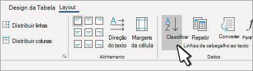 Botão classificar quando houver uma tabela selecionada