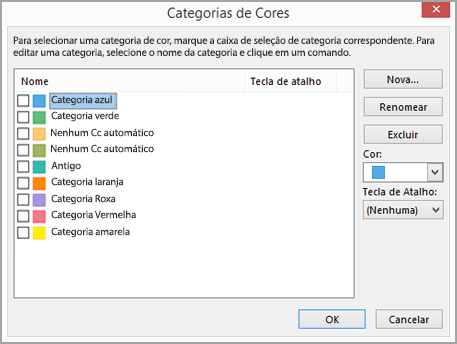 Caixa de diálogo Configurações de Cor
