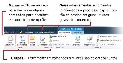 Visão geral da interface da faixa de opções do SharePoint