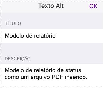 Adicionar texto Alt a um arquivo inserido no OneNote para iOS