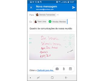 Mensagem de rascunho que contém um telefone do quadro de comunicações