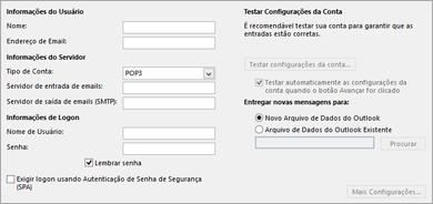 Inserir suas configurações de conta IMAP