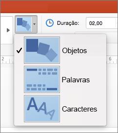 Mostra as Opções de Efeito da transição Transformar no PowerPoint 2016 para Mac