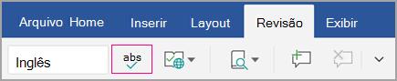 Ícone de verificação ortográfica na guia revisão