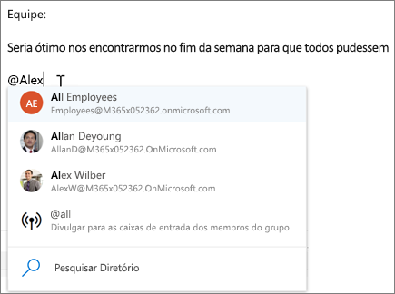 @mentions no Outlook na Web