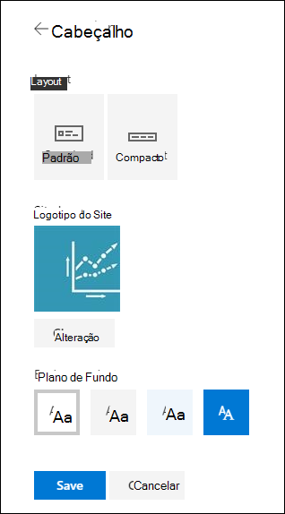Layouts de cabeçalho de site do SharePoint
