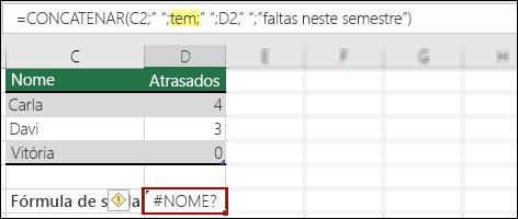 Erro #NOME? gerado pela ausência de aspas duplas nos valores de texto
