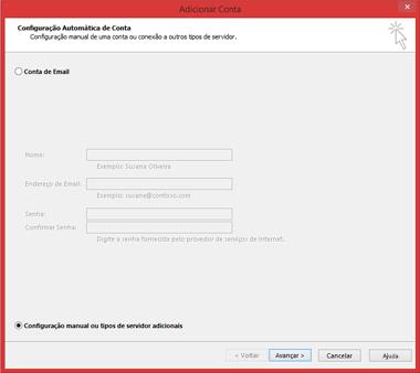 Escolha Configuração manual ou tipos de servidor adicionais