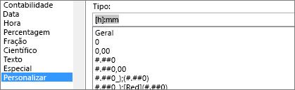 Caixa de diálogo Formatar Células, comando Personalizar, tipo [h]:mm