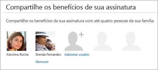 A seção Compartilhar os benefícios de sua assinatura da página Compartilhar Office 365 que mostra o link Remover sob a imagem de um usuário.