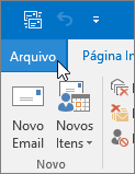 Captura de tela do menu Arquivo no Outlook 2016