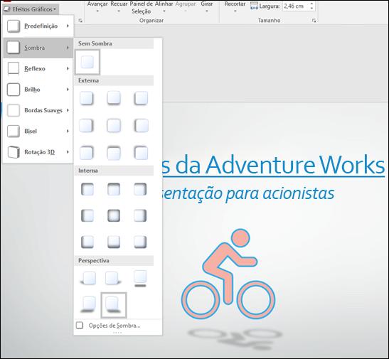 Adicionar efeitos, como sombras subjacentes, aos elementos gráficos SVG com a ferramenta Efeitos Gráficos