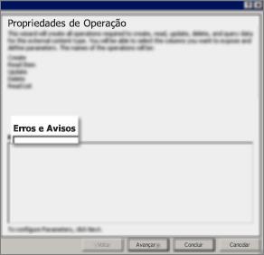 Captura de tela da caixa de diálogo Todas as Operações, explicando que você optou por criar todas as propriedades necessárias para os direitos de Criar, Ler Item, Atualizar, Excluir e Ler Lista.