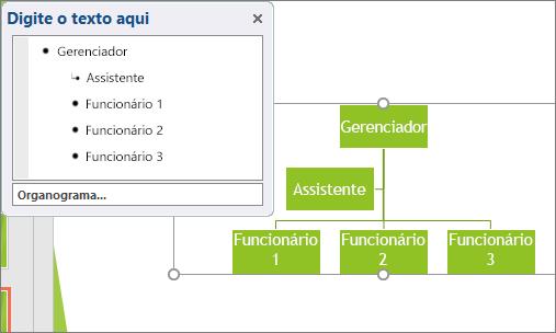 Mostra um exemplo de um Organograma de SmartArt