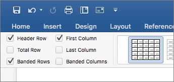 Captura de tela da caixa de seleção Linha de Cabeçalho