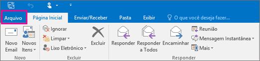 Aparência da faixa de opções no Outlook 2016.