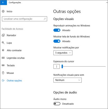 O painel Facilidade de Acesso e Outras opções nas configurações do Windows 10