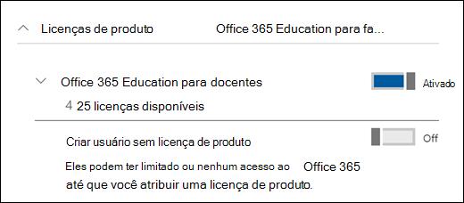 Captura de tela da adição de um usuário no Office 365, mostrando a seção expandida de licença de produto.