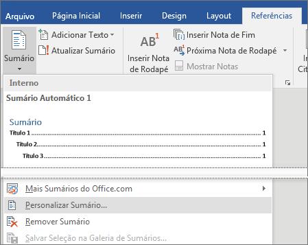 A opção Sumário Personalizado aparece no menu Sumário.