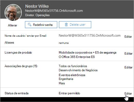 Captura de tela do status de entrada de um usuário no Office 365