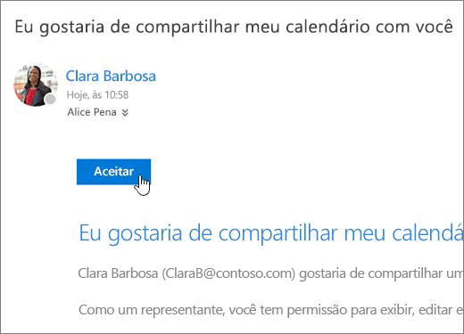 Captura de tela de um convite de calendário compartilhado.