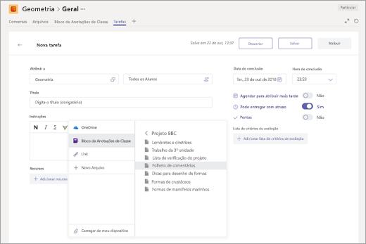 Selecionar uma página de anotações de classe do OneNote para anexar a uma tarefa no Microsoft Teams