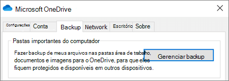 Guia de backup nas configurações da área de trabalho do OneDrive