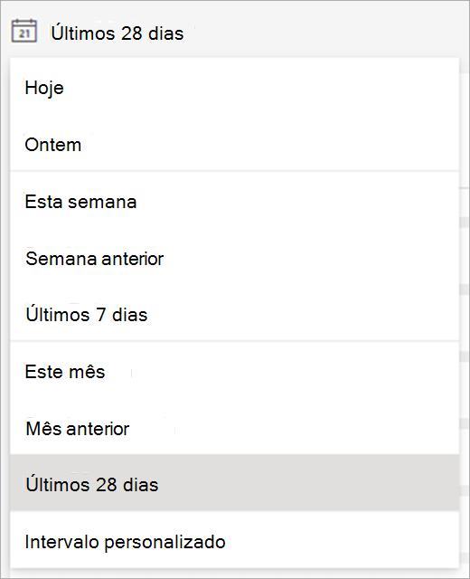 menu suspenso mostrando os prazos que podem ser selecionados para exibir os dados
