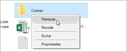 Uma captura de tela mostrando a opção Restaurar na Lixeira do Windows.