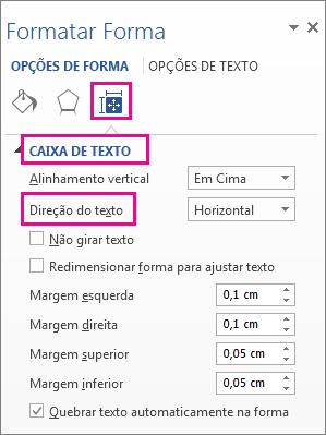 Selecionar a direção do texto no painel Formatar Forma