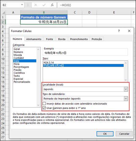 Imagem da caixa de diálogo Formatar Células no painel Números com o formato de data Gannen aplicado.