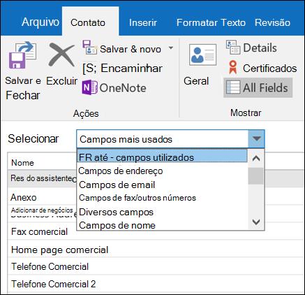 Selecione todos os campos para inserir informações em um formato de tabela.