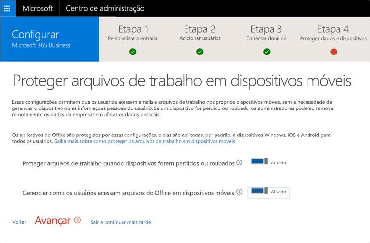 Captura de tela da página Proteja arquivos de trabalho nos seus dispositivos móveis