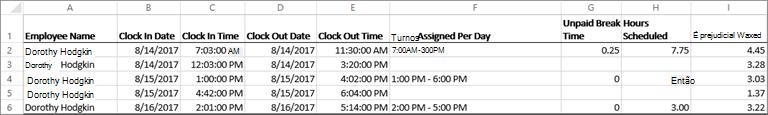 Dados de relógio de exemplo para um funcionário