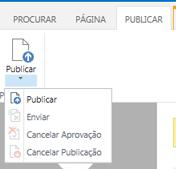 A captura de tela da guia Publicar contém botões para publicar, cancelar publicação e enviar uma página de publicação para aprovação