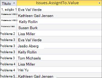 Resultados do campo de vários valores usando <Fieldname>. Valores