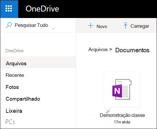 Pasta de documentos do OneDrive da conta da Microsoft