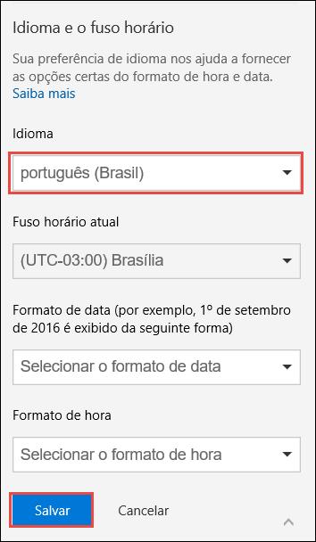 Uma captura de tela mostrando as configurações de preferência de idioma