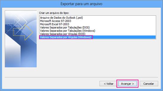 Escolha se deseja exportar um arquivo .csv (Windows)