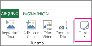 Botão Temas na guia Página inicial do Power Map