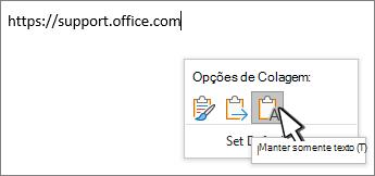 Menu suspenso de colagem com o cursor do mouse passando sobre o texto