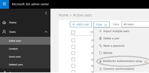 Selecione autenticação de multifator Azure no Centro de administração do Office 365