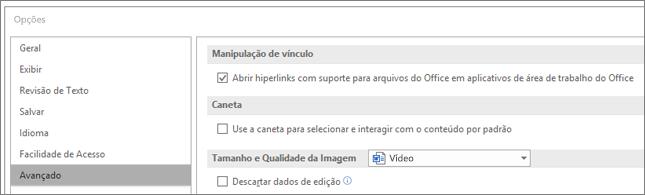 Caixa de diálogo Opções com a caixa de seleção Abrir hiperlinks destacada