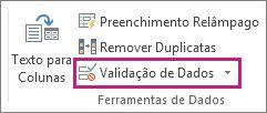 Validação de Dados na guia Dados