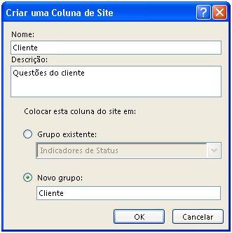 Caixa de diálogo Criar uma Coluna de Site