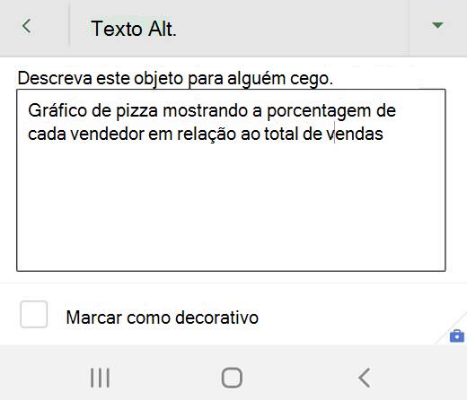 Caixa de diálogo Texto Alt no Excel para Android.