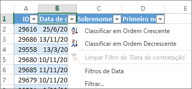 Classificação de uma coluna da tabela