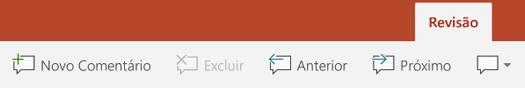 A guia Revisão da faixa de opções no PowerPoint em tablets Android tem botões para uso de Comentários.